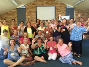 Vibrant, enthused participants after their laughter yoga session. Photo courtesy of Downs & West Community Support.