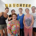 5 laughter yoga leader participants, smiling with trainer, HeatherJoy
